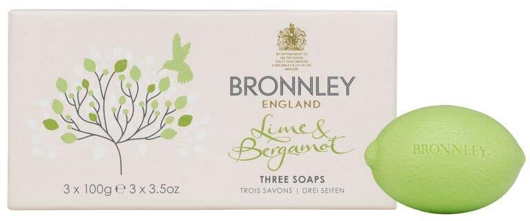 Bronnley Lime & Bergamot Soap, Box of 3, 100g