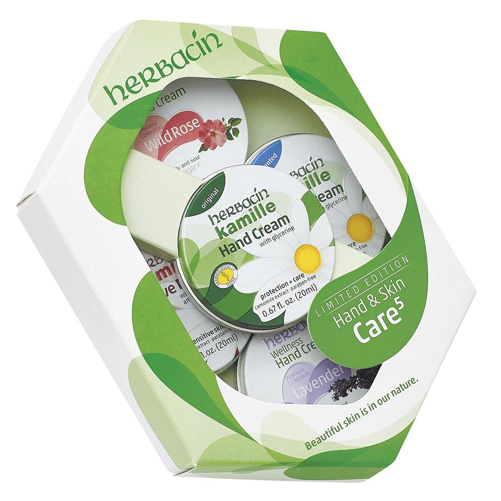 Herbacin Hand Cream Gift Set of Five tins - Green - 20ml each