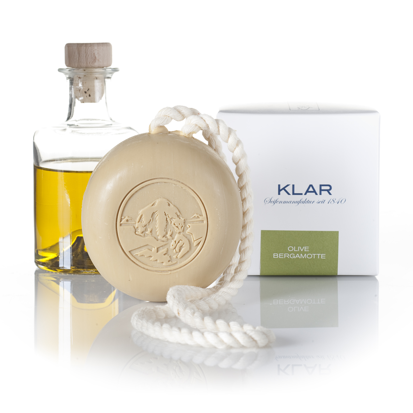 Klar Olive & Bergamot Hair and Body Soap on a Rope 250g