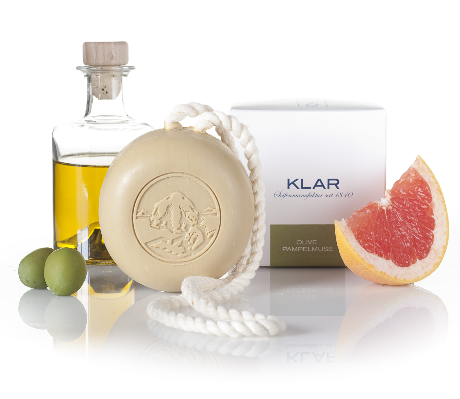 Klar Olive & Grapefruit Hair and Body Soap on a Rope 250g