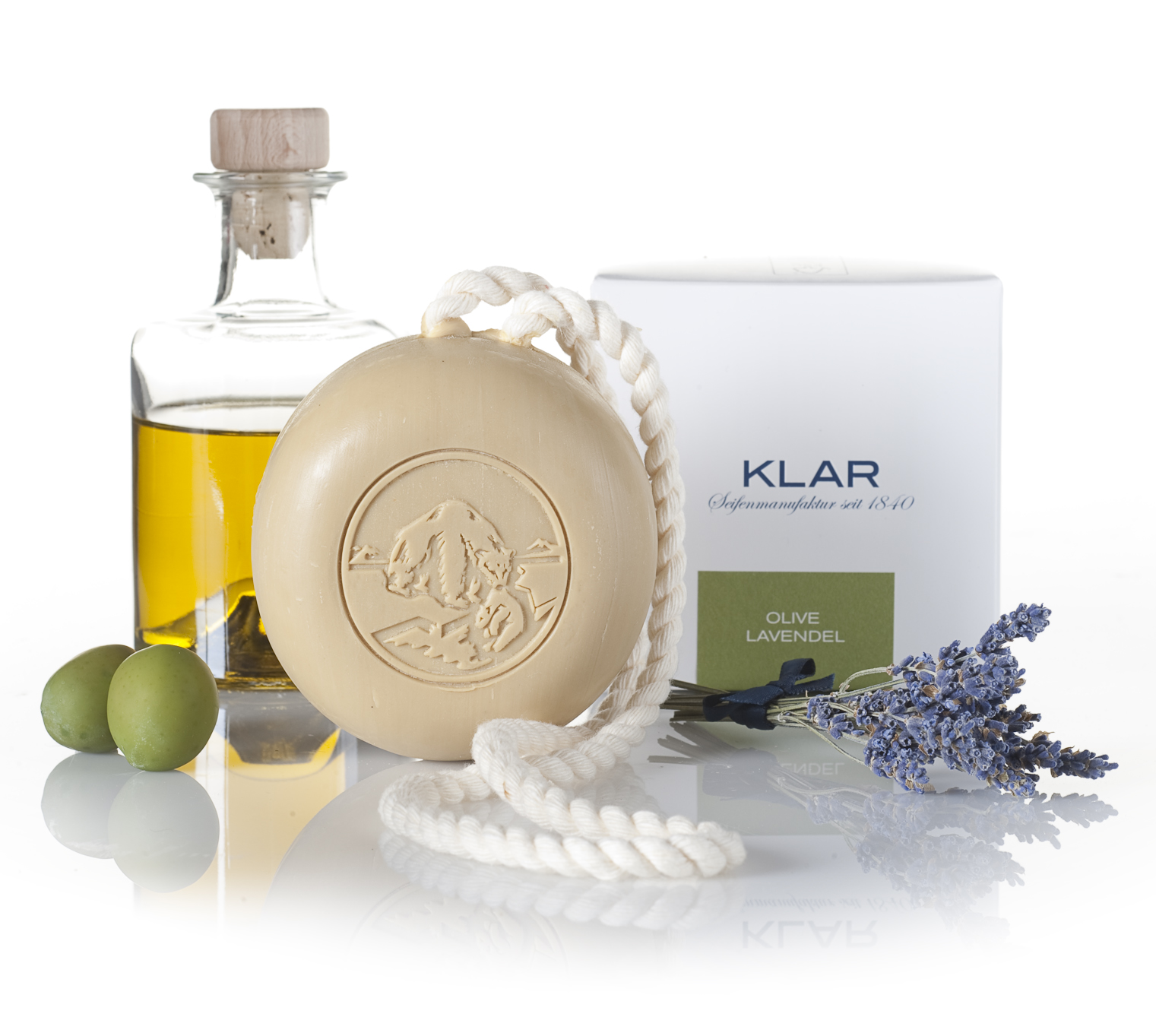 Klar Olive & Lavender Hair and Body Soap on a Rope 250g