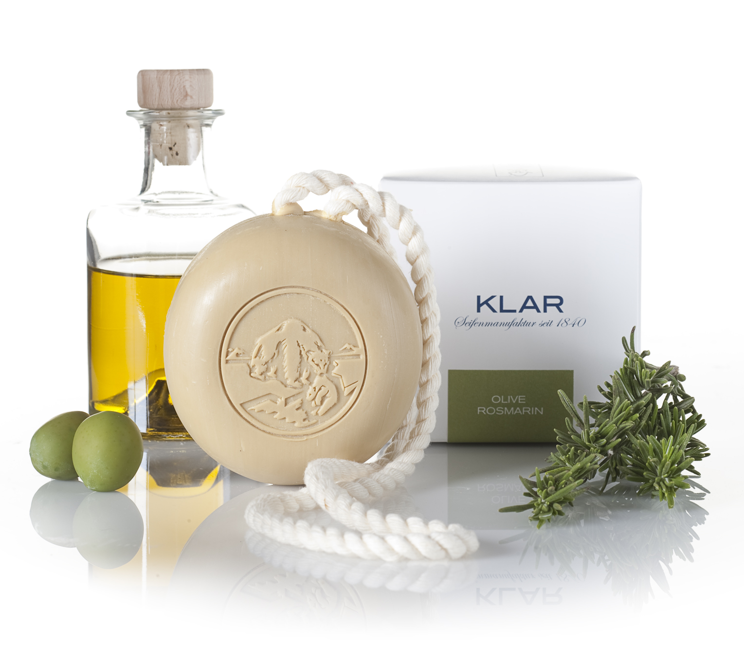 Klar Olive & Rosemary Hair and Body Soap on a Rope 250g