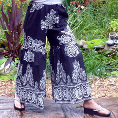 Karma Highway Wide Leg Black Cotton Drawstring Palazzo Pants