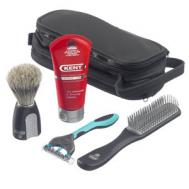 Kent 'The Big Wet Set' Shaving Travel Kit - Kent Blended Bristle Shave Brush, Shave Cream, Kent Hair Brush and Razor - small image
